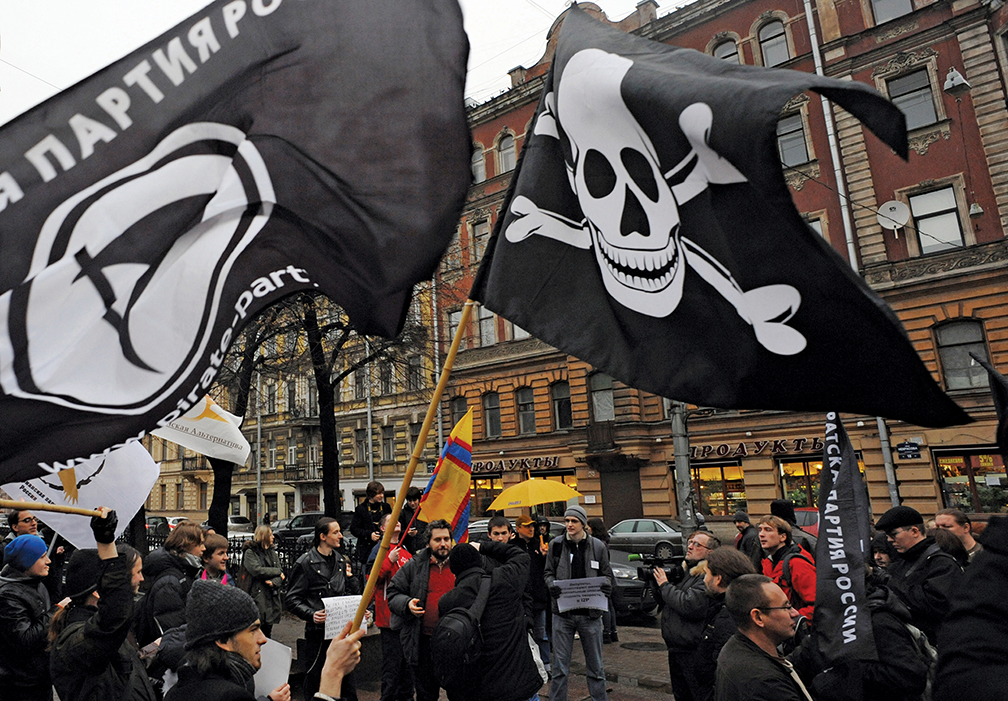 Supporters of the Pirate Party rally in St. Petersburg against Internet censorship. The Russian government, which views online freedom differently from the West, believes that it has sovereignty over cyber networks within its borders. [AFP/GETTY IMAGES]