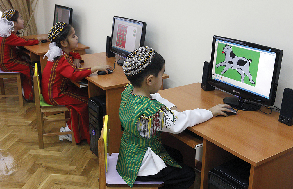 Children use computers in Ashgabat, capital of Turkmenistan. President Gurbanguly Berdymukhamedov has broadened the country's use of the Internet since his inauguration in 2007.
