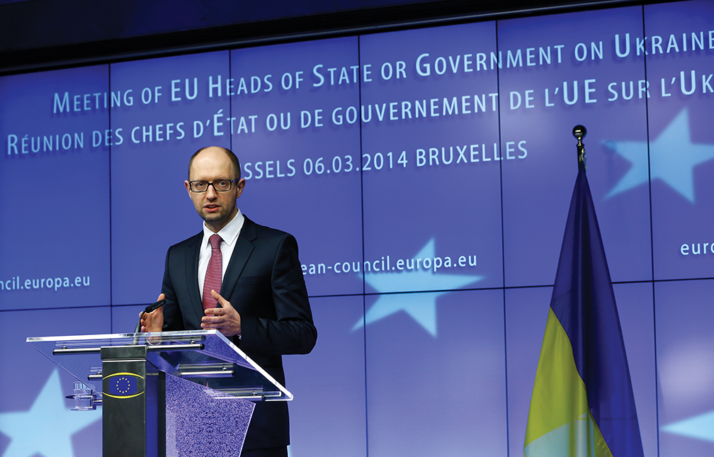 Acting-Ukrainian Prime Minister Arseny Yatseniuk attends an emergency summit of European leaders in Brussels in March 2014 to discuss Ukraine and the Russian occupation of Crimea.