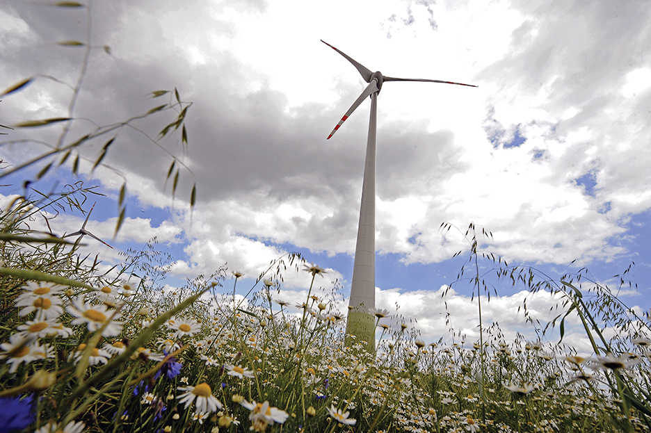 TO GO WITH AFP STORY BY Mary Sibierski View of a wind turbine near Kisielice in northern Poland, on June 23, 2011. In Poland's historic Gdansk Shipyard, the winds of change are blowing again. Now, the 1980 birthplace of the Solidarity freedom movement which peacefully toppled communism in Poland in 1989 is aiming to spin profits from Europe's green energy revolution by building on and offshore wind turbine towers. AFP PHOTO / JANEK SKARZYNSKI (Photo credit should read JANEK SKARZYNSKI/AFP/Getty Images)