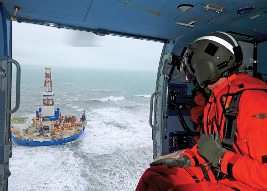 The Kulluk conical drilling unit, operated by Royal Dutch Shell, broke free from tow lines in heavy weather off Alaska and grounded on Sitkalidak Island in December 2012. The company had to shut down operations. PETTY OFFICER 1ST CLASS SARA FRANCIS/U.S. COAST GUARD