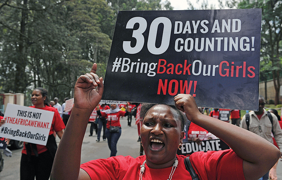 Activists from more than 40 African women's organizations march in May 2014 on the streets of Nairobi, Kenya, demanding the release of more than 200 schoolgirls abducted from northern Nigerian schools by Boko Haram. AFP/GETTY IMAGES