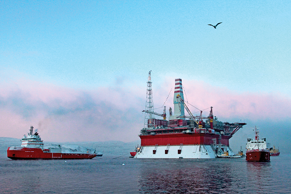 The Russian oil-drilling platform Prirazlomnaya is towed into the Arctic seaport of Murmansk. Russia has invested heavily in the infrastructure needed to exploit Arctic energy resources. THE ASSOCIATED PRESS