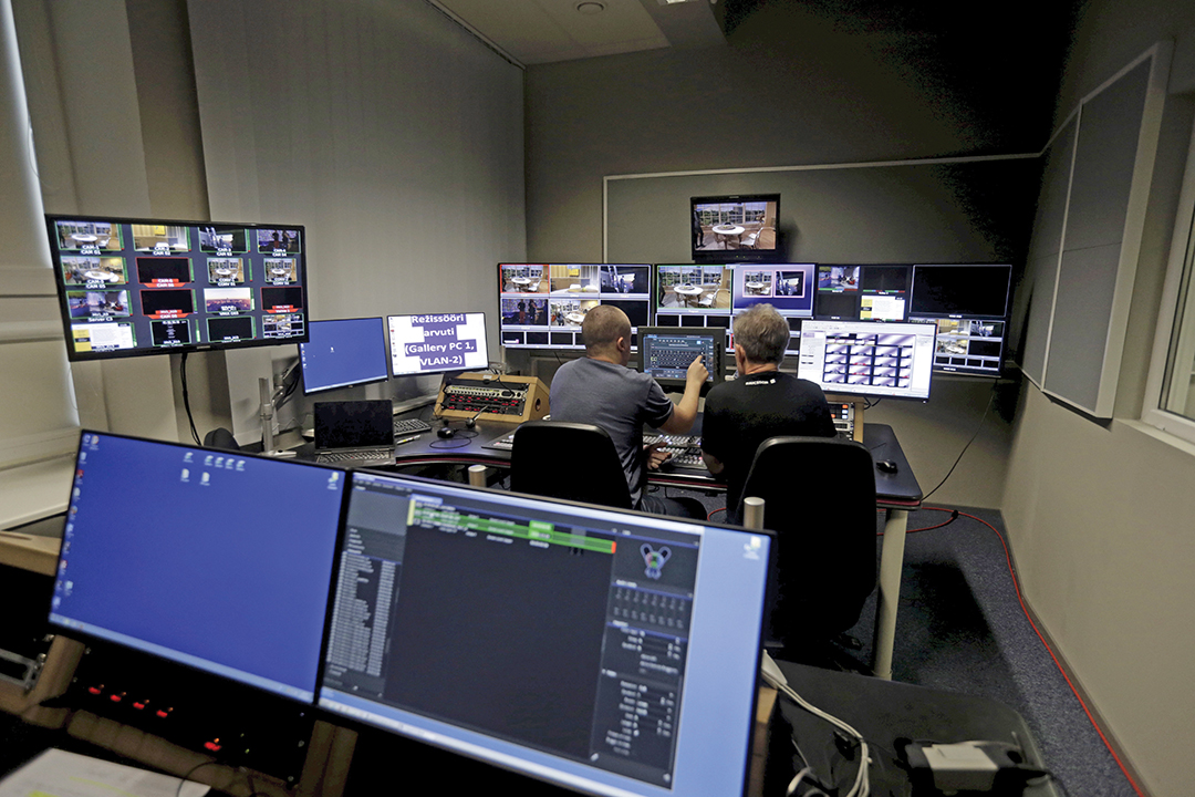 Engineers work in the control room of the new Russian language TV channel ETV+ in Tallinn, Estonia, in September 2015. The channel was established to improve the quality of Russian-language information in Estonia. REUTERS