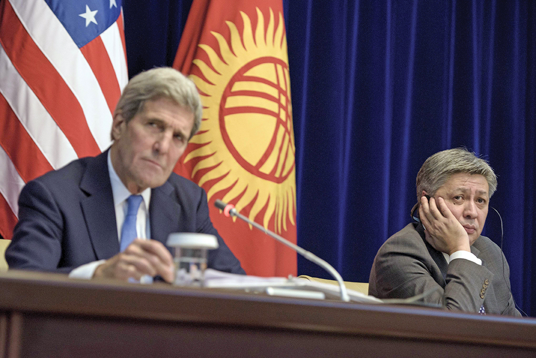 U.S. Secretary of State John Kerry, left, and Kyrgyz Foreign Minister Erlan Abdyldaev listen to questions at a news conference in Bishkek in October 2015. REUTERS